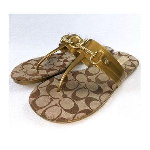 COACH Gold Logo Thong Sandals 9.5